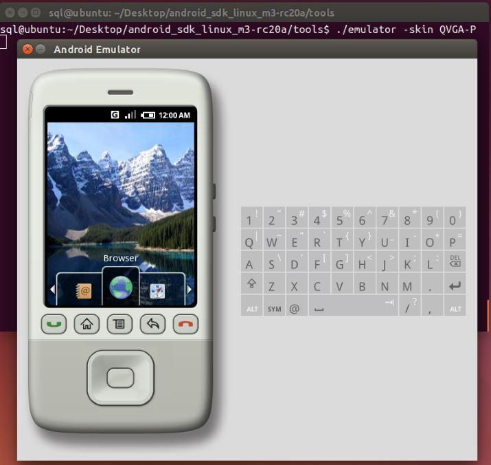 Android 0.5 Emulator skin QVGA-P