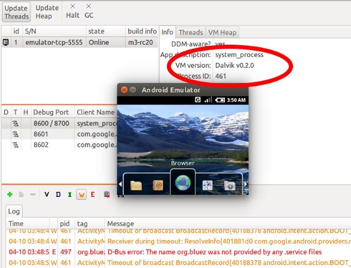 Android 0.5 Emulator Dalvik-VM