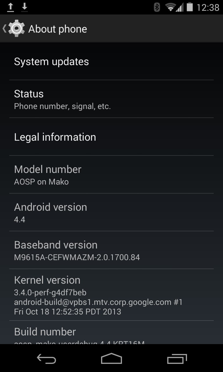 Android 4.4 KiKat nexus 4 update
